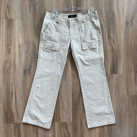 Gucci Other - GUCCI 36/30.5 Ivory Cargo Pants With Flare Bottom